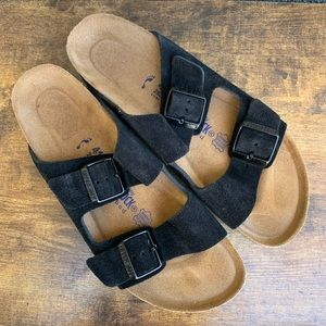 Birkenstock's Arizona black suede sandals